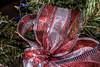Christmas tree decorations - gauzy ribbons in red, white, and silver stripes