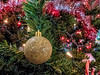 Christmas tree ornaments - glittering gold ball
