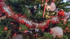 Christmas tree decorations - red and silver garland