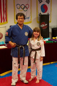 Grand Master and Allie with new Brown Belt