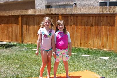 Allie and Jennie  - Summertime slip-n-slide