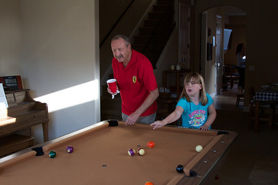 Allie and Grandpa playing a little pool