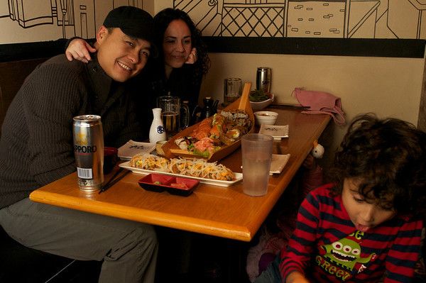 Great sushi at O-Zen.  Rex, Nance,  Jaden and Cyane hiding under the table poking out her duck friend.