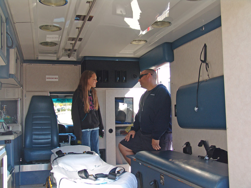 Getting a tour of the ambulance
