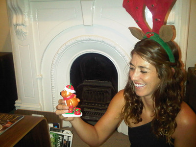 Cristina with her Christmas Candy dispenser stocking stuffer