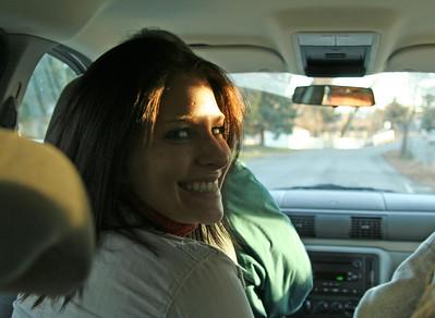 Melly in the van