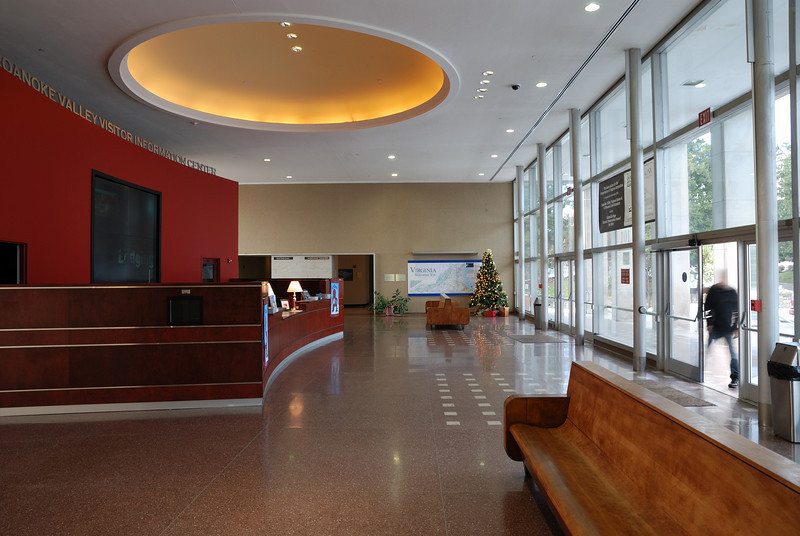 The lobby of the refurbished rail station in Roanoke, which now houses the O. Winston Link photography museum.  This museum is highly recommended to anyone interested in photography or steam locomotives.