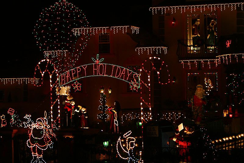 The mother of all light-bedecked homes!  On Danielle Place in Monte Sereno, California.