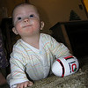 Christmas Eve, checking out the football Sherri got him