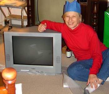 mom and her flat tv