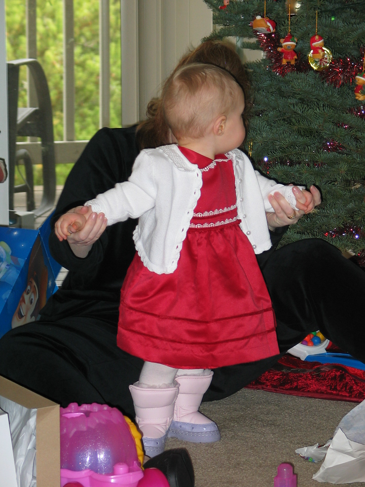 Check out the snow boots.  They match the dress perfect!