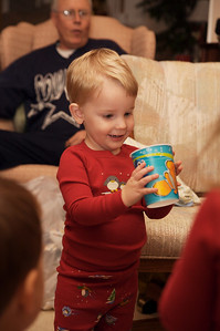 Opening gifts.  A Nemo cup...who could ask for more?