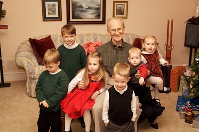 All 6 great grandchildren with Great Grandpa Bill.