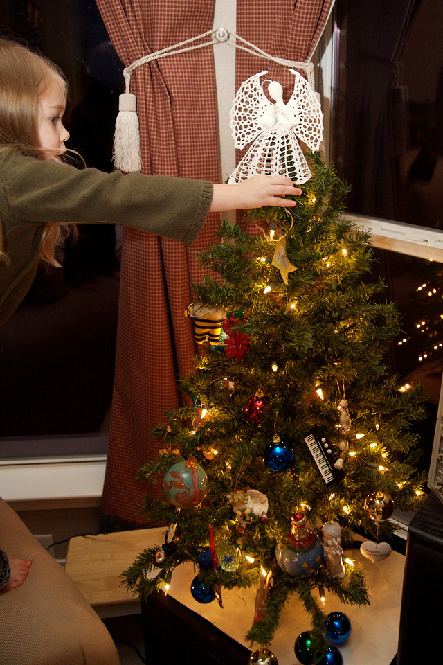 Decorating the kids' tree.
