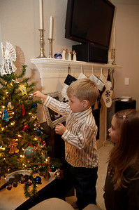 Decorating the kids' tree.