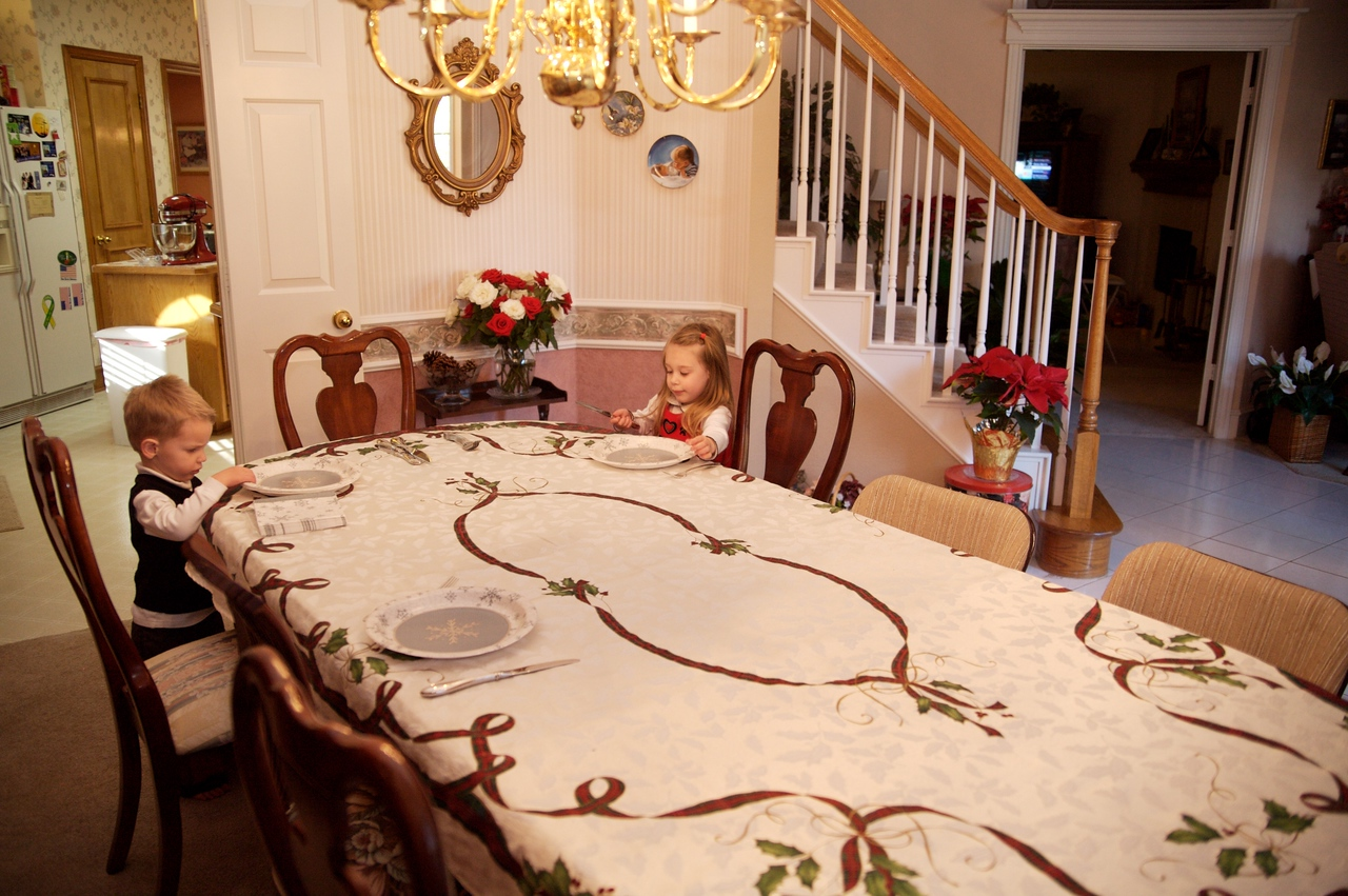 Setting the table at Gramma's house.