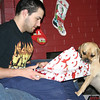 Cory and Louie opening Christmas presents.