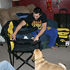 Cory and Louie check out the new Hawkeye chair and cooler.