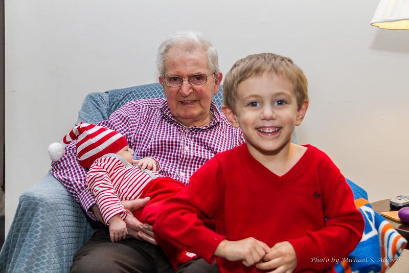 Great Grandpa with Zachary and CJ.