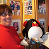 Lori with her christmas penguin