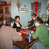 Nathan, Kim, Lori, Louie, Cassie, Brady and Alex playing a game of Blokus.