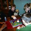 Kim, Lori, Louie, Cassie and Alex playing Blokus.