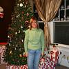 Kim by the Christmas tree