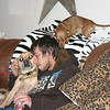 Alex with the dogs on Christmas Eve ( 2013 )
