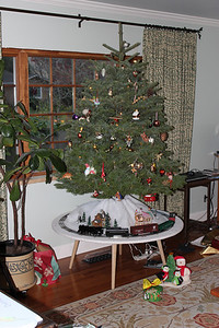 Next Christmas I am going to make a tree skirt that hangs down to hide the legs and wires.