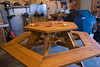 Stephen made this hexagonal picnic table (without a pattern, mind you) as a surprise Christmas gift for Tony's family.  Shipping not included.  Isn't this just amazing!!