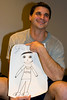 Grace drew a picture of Stephen with a fishing t-shirt from Bower's Dam.  I love the hair cut and banana shaped mouth.