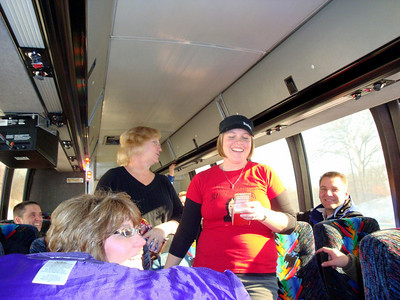 Shana, Lynann and the Lee Insurance group on the bus ride to Coralville ( 2009 )