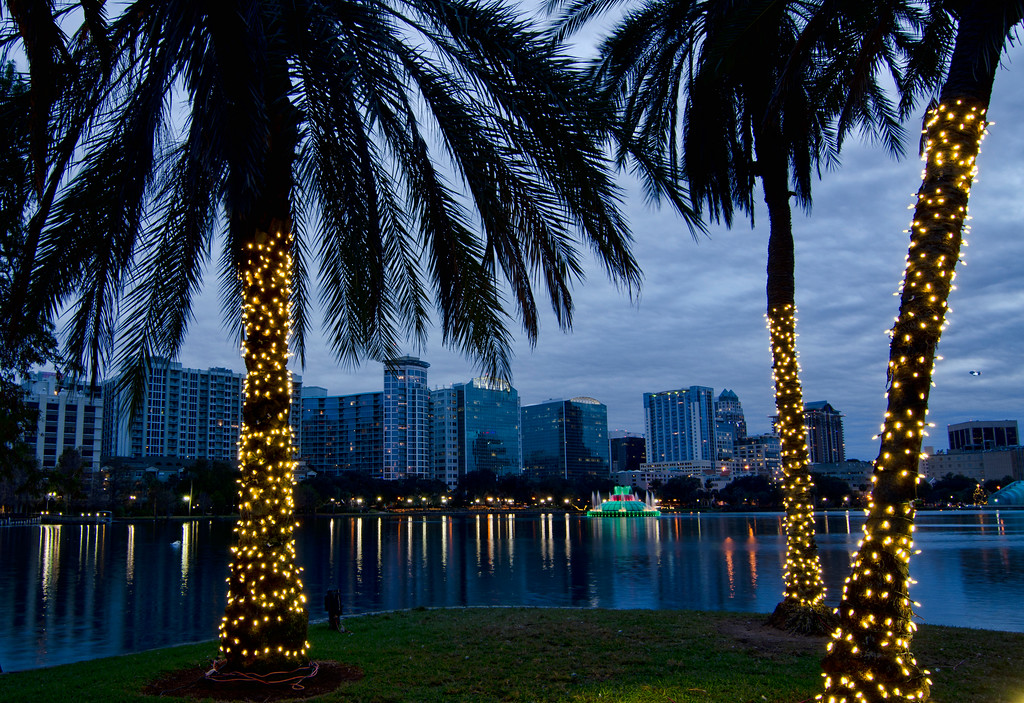 Twilight shot of Orlando skyline during the Christmas holidays. Lake Eola and decorated palm trees in foreground.