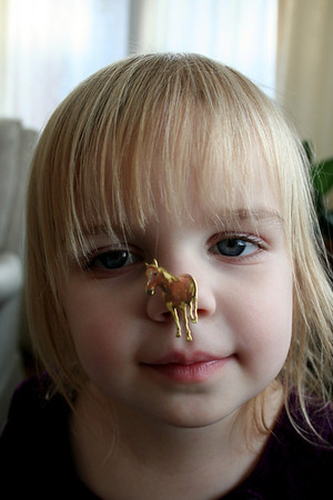 Makenna wanted a picture of her with one of her horse stickers that we got her for Christmas. Silly girl put it on her nose.