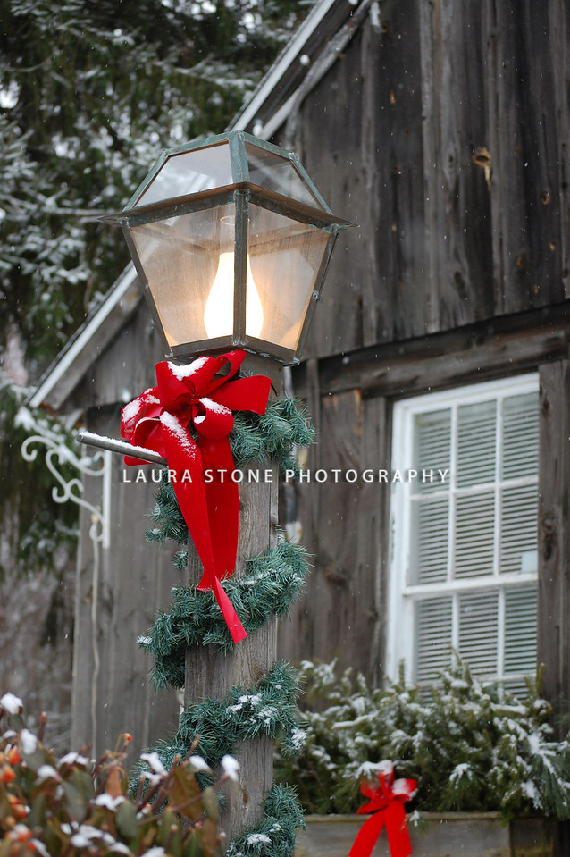 Holiday decorations on a rural Connecticut home.