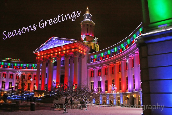 Christmas Lights Denver City and County Building Season's Greetings