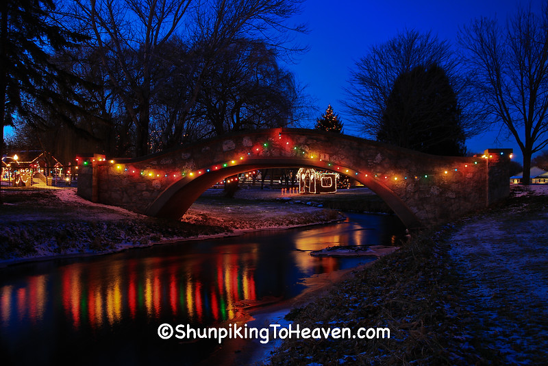 Christmas Lights Over Sixmile Creek, Village Park, Waunakee, Wisconsin