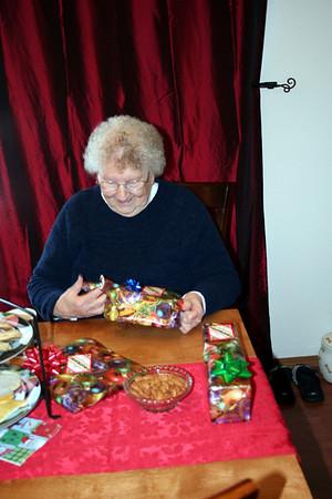 Grandma Peak opening her gifts.