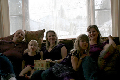 If you notice we all were wearing purple for our Christmas gathering.