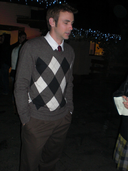 Douglas outside of Christmas Eve church  (the rest of us were in our Pearlington shirts & jeans--he had a date later!)