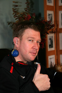 Eric sporting a J-hawks ear ring