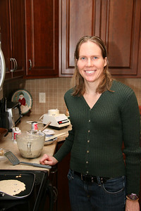 Carrie makes some wonderful oatmeal-chocolate chip pancakes.