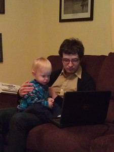 """Milo watcing """"Steamboat Willie"""" with Uncle Brian"""