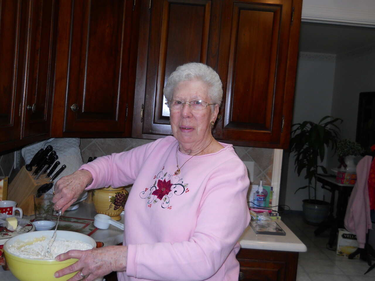 Cookie Day.  Nana mixing up the batter