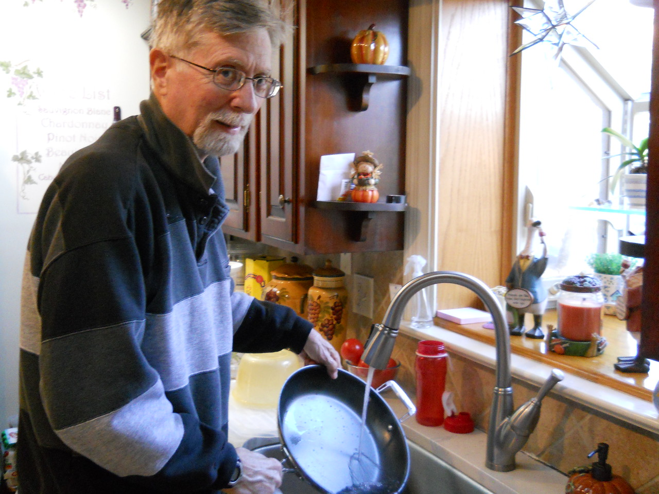 Dad helping in the kitchen