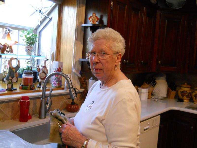 Nana on clean up duty