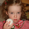 "Reese getting her ""game face"" on before sitting on Santa's lap."