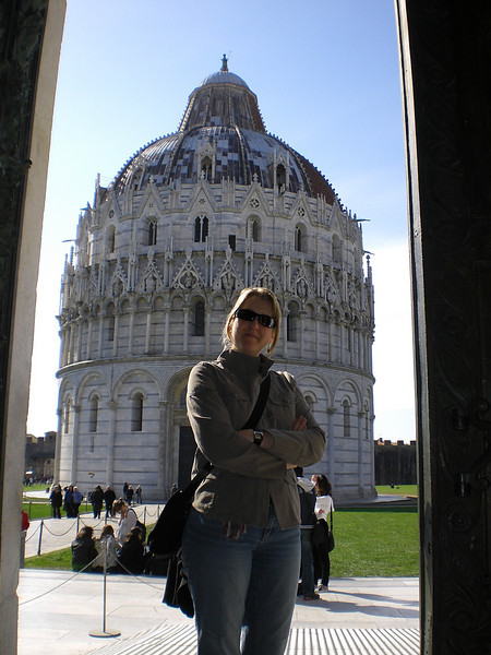 AB in front of the Duomo at Pisa