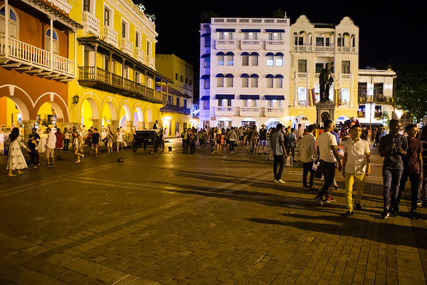 Cartagena has a very spread downtown with many plazas / squares. Plaza de la Aduana, bordered by the city walls is one of the larger. This is also one of the places horse carriages start from.