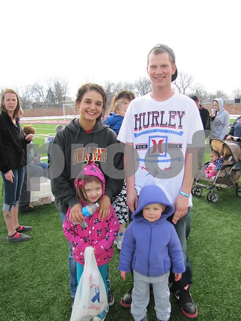 Jessica Krause and Connor Sturtz (rear), with Nevaeh Mallinger and Joey Luckenbill
